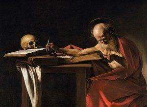 картина Караваджо Микеланджело Пишущий cв. Иероним